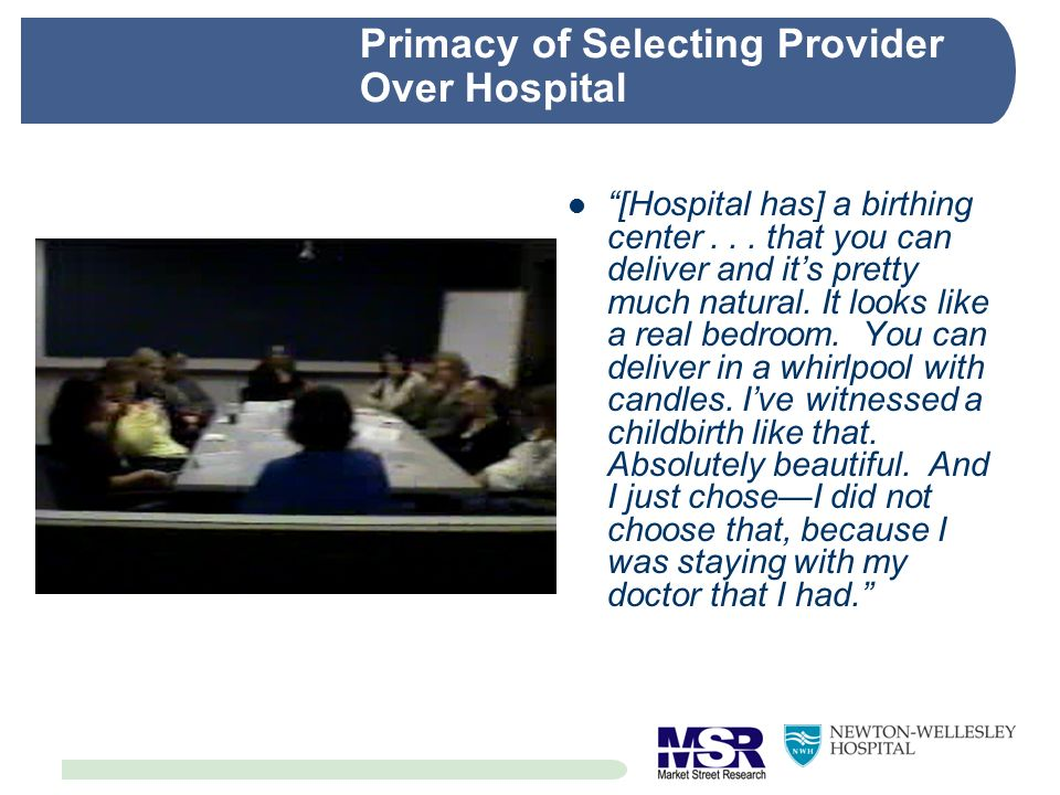 Primacy of Selecting Provider Over Hospital