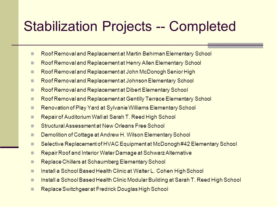 Stabilization Projects -- Completed