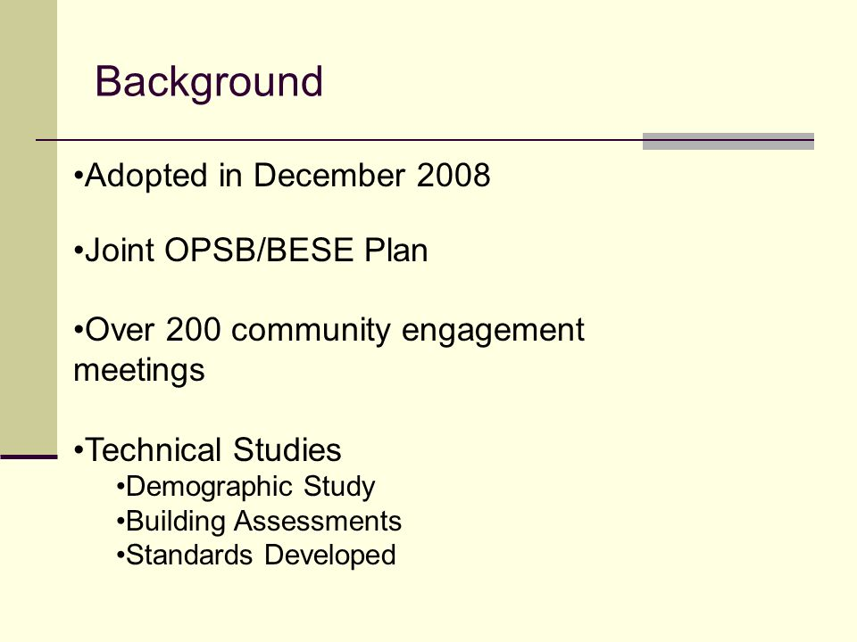 Background Adopted in December 2008 Joint OPSB/BESE Plan