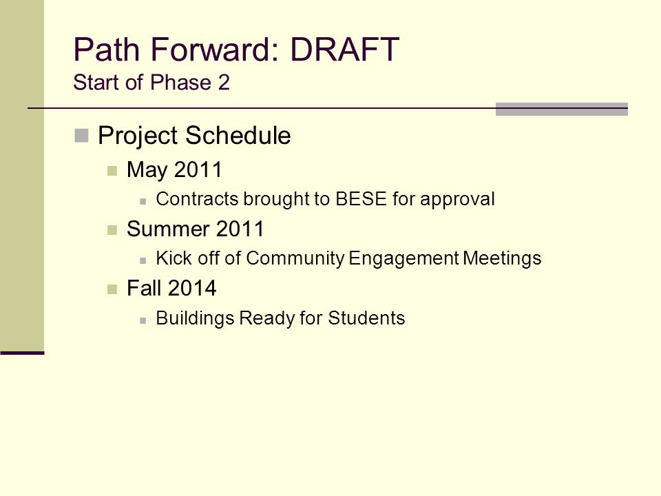 Path Forward: DRAFT Start of Phase 2
