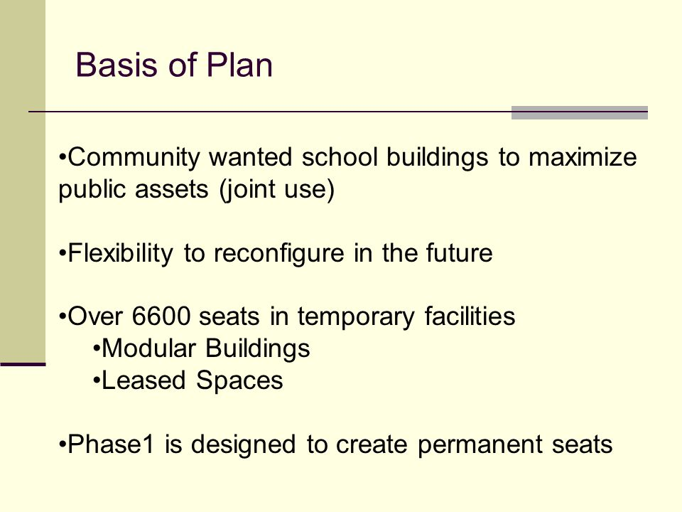 Basis of Plan Community wanted school buildings to maximize public assets (joint use) Flexibility to reconfigure in the future.