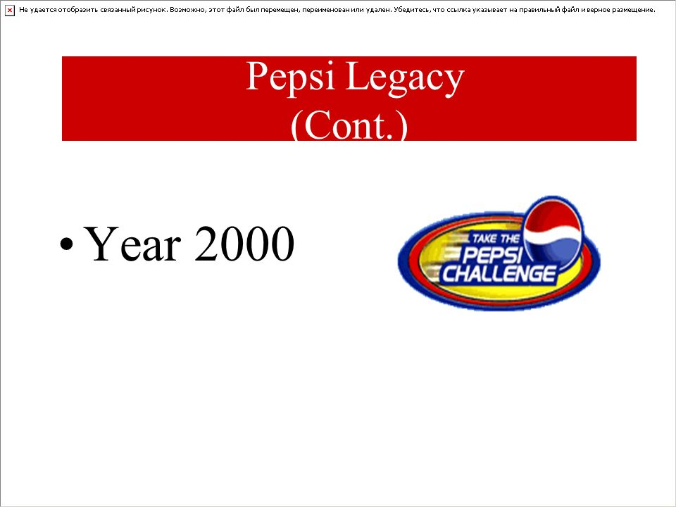 Pepsi Legacy (Cont.) Year 2000