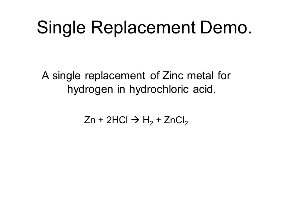 Single Replacement Demo.