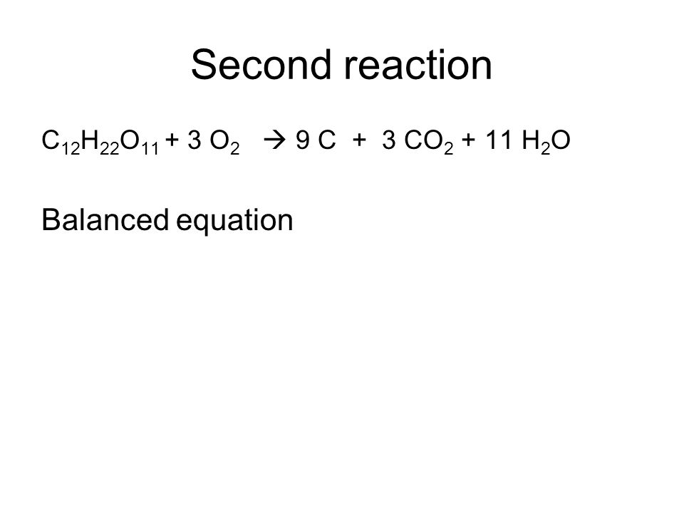 Second reaction Balanced equation