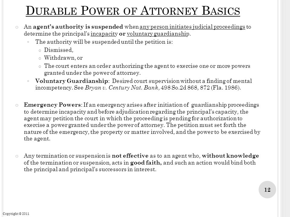 Durable Power of Attorney Basics