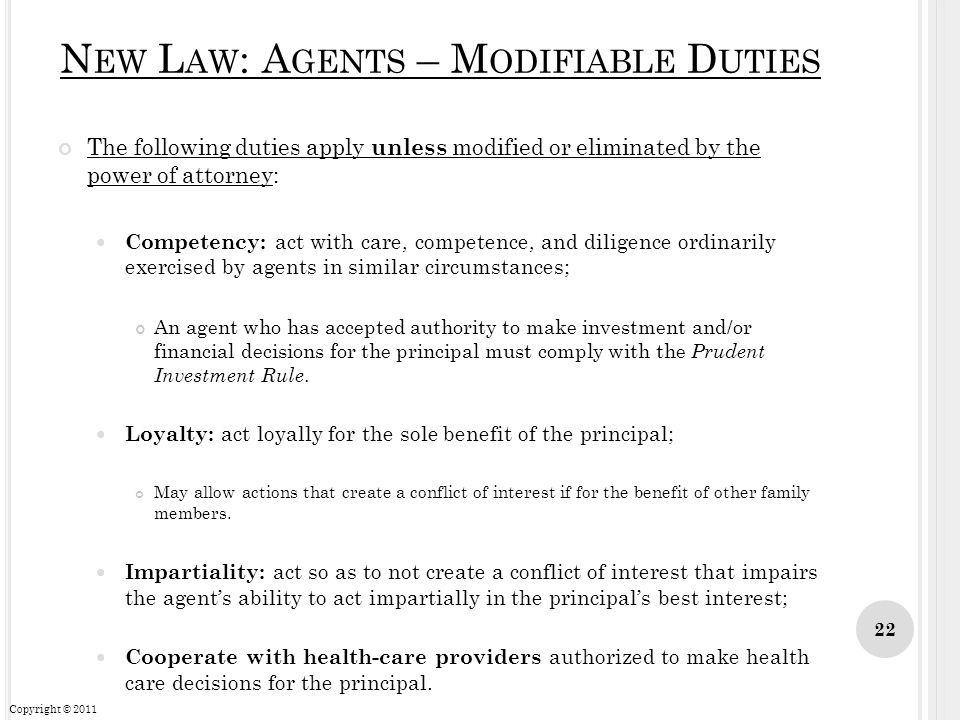 New Law: Agents – Modifiable Duties