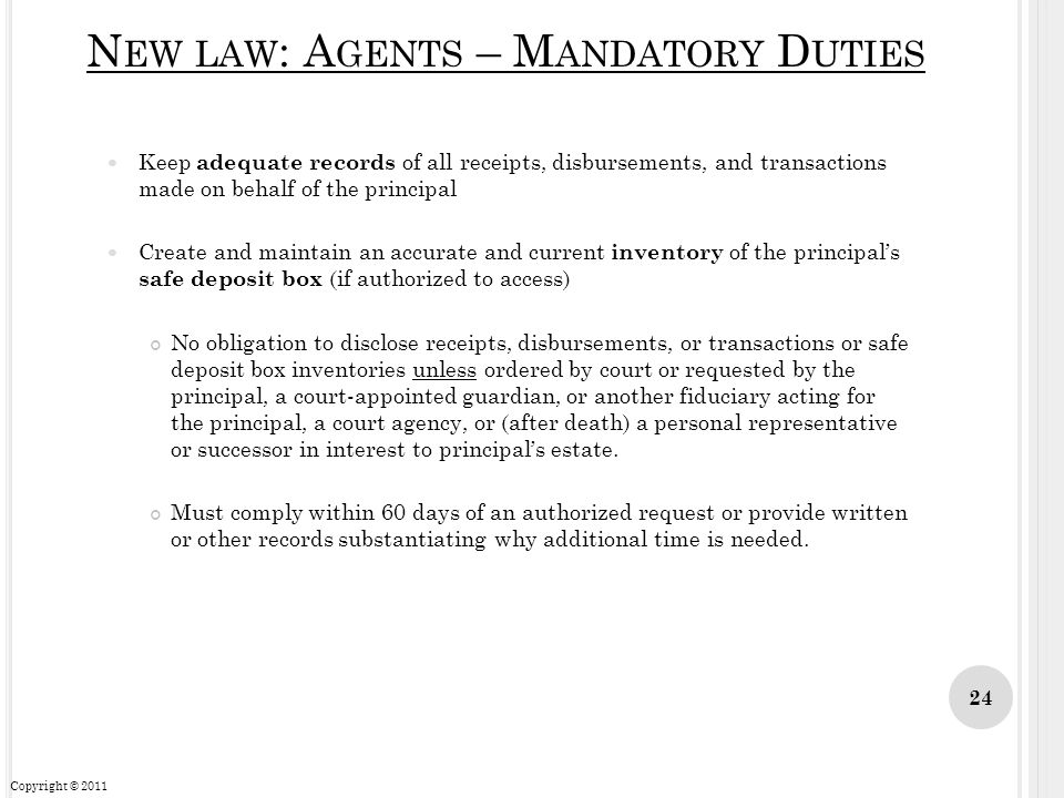 New law: Agents – Mandatory Duties