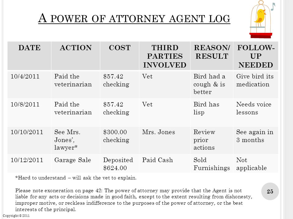 A power of attorney agent log