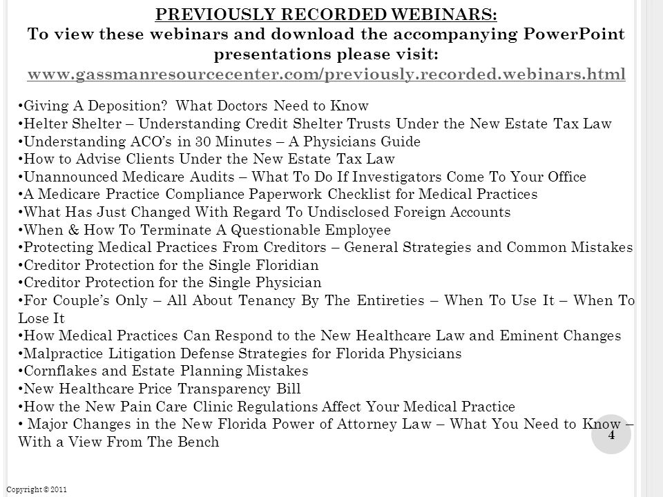 PREVIOUSLY RECORDED WEBINARS: