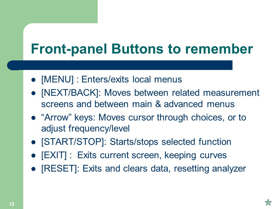 Front-panel Buttons to remember