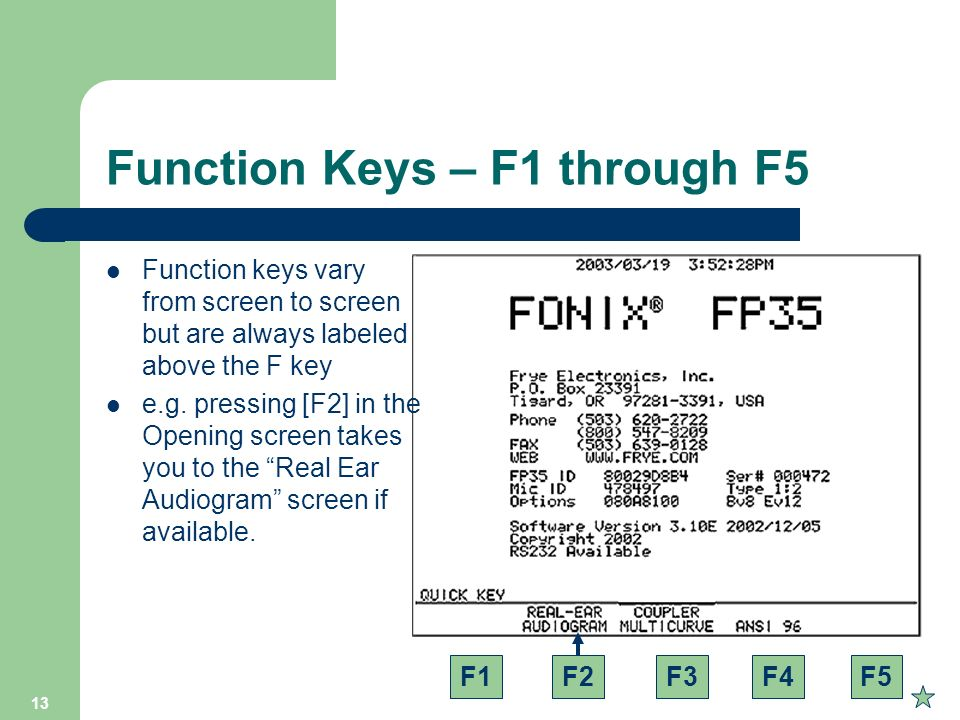 Function Keys – F1 through F5