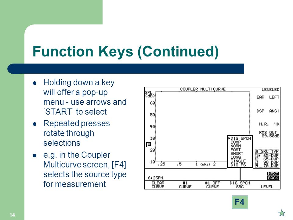 Function Keys (Continued)