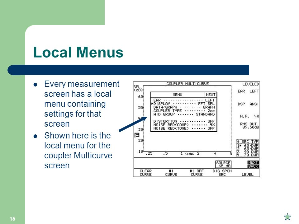 Local Menus Every measurement screen has a local menu containing settings for that screen.