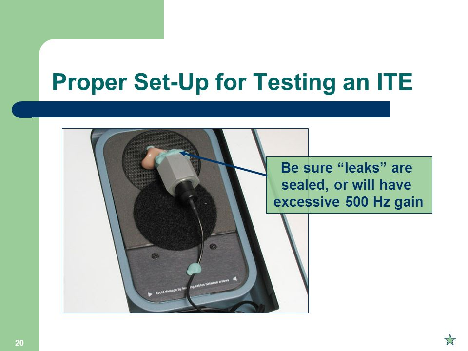 Proper Set-Up for Testing an ITE