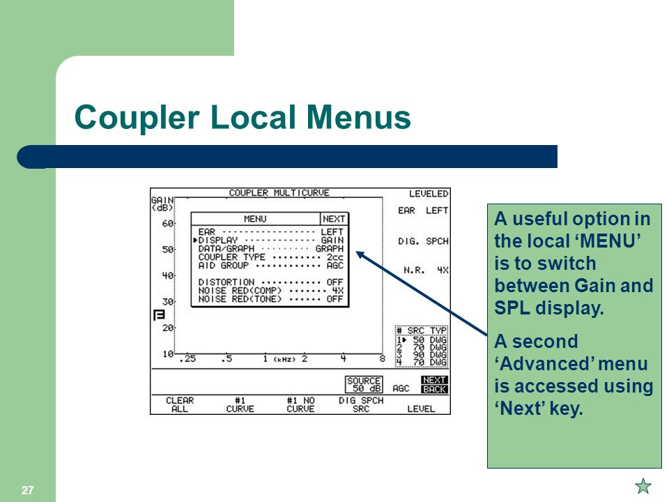 Coupler Local Menus A useful option in the local 'MENU' is to switch between Gain and SPL display.