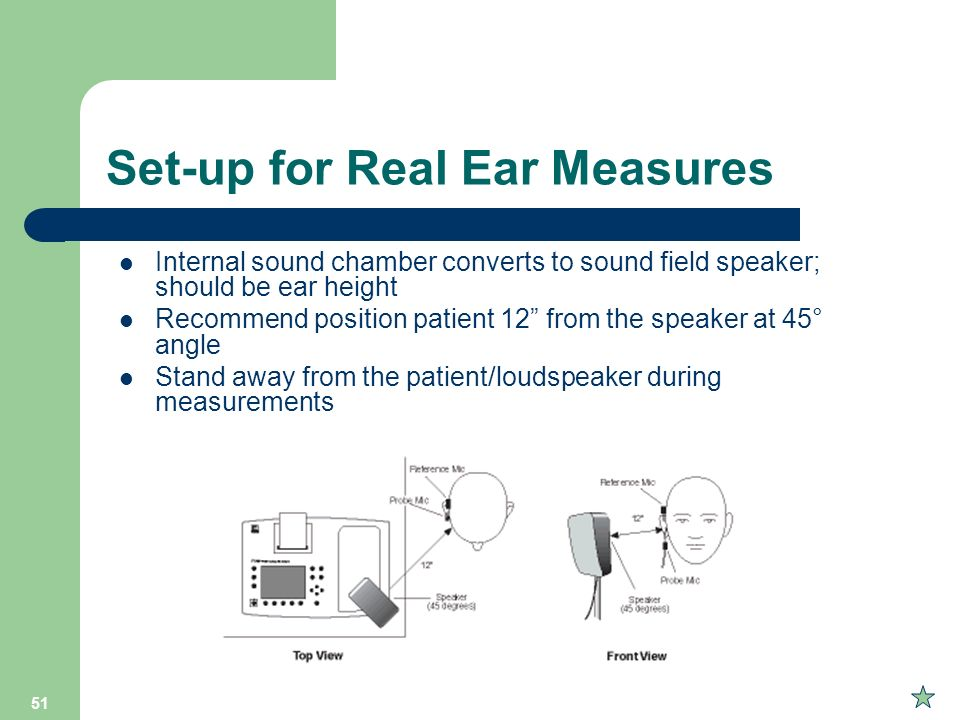 Set-up for Real Ear Measures
