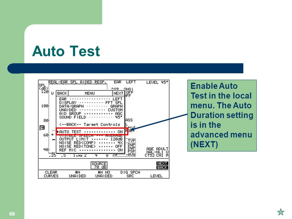 Auto Test Enable Auto Test in the local menu.