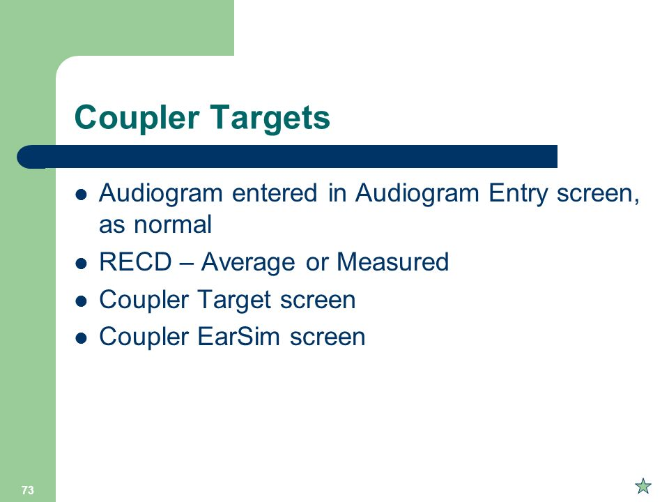 Coupler Targets Audiogram entered in Audiogram Entry screen, as normal