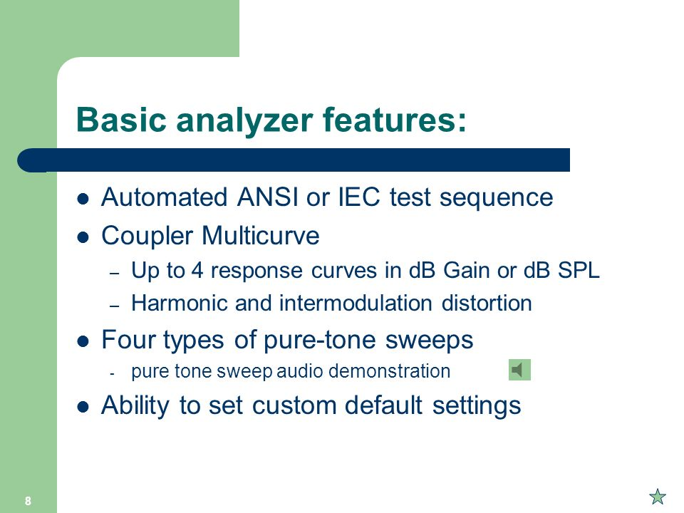Basic analyzer features: