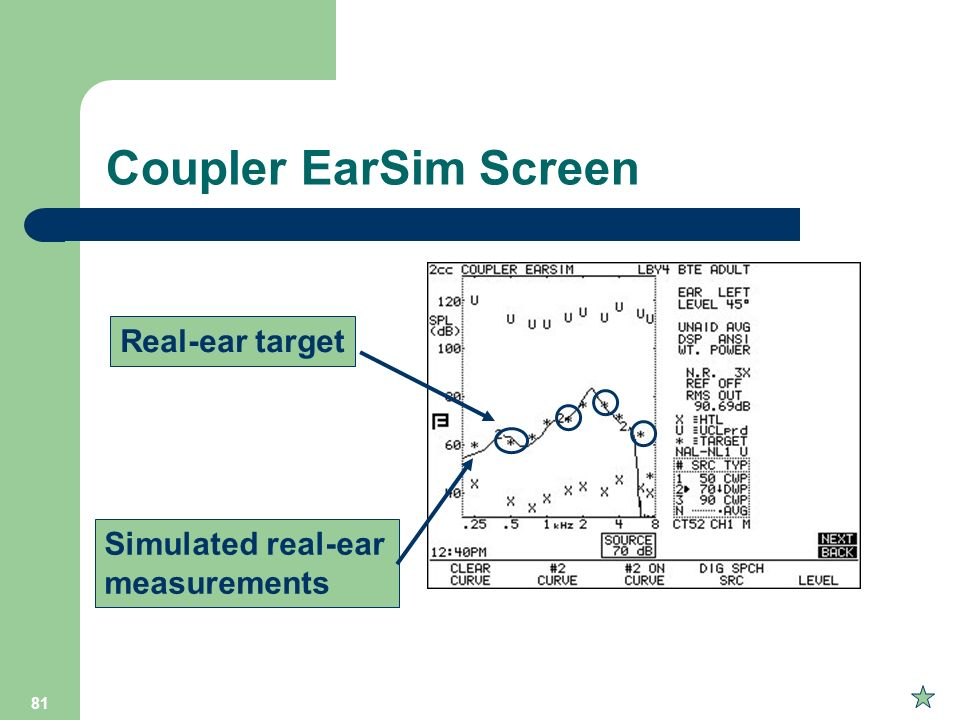Coupler EarSim Screen Real-ear target Simulated real-ear measurements