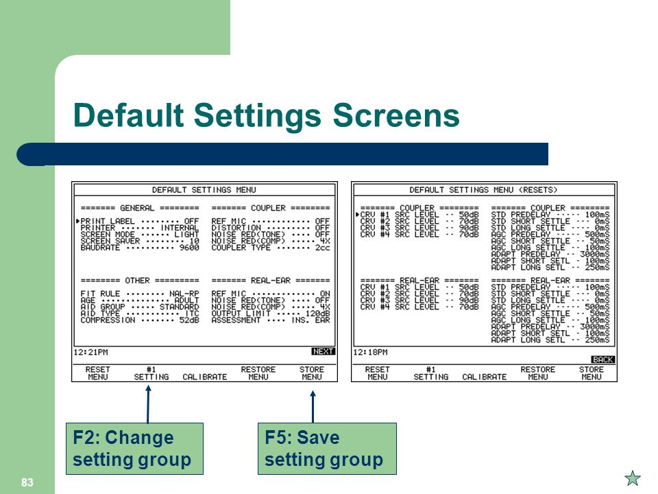 Default Settings Screens