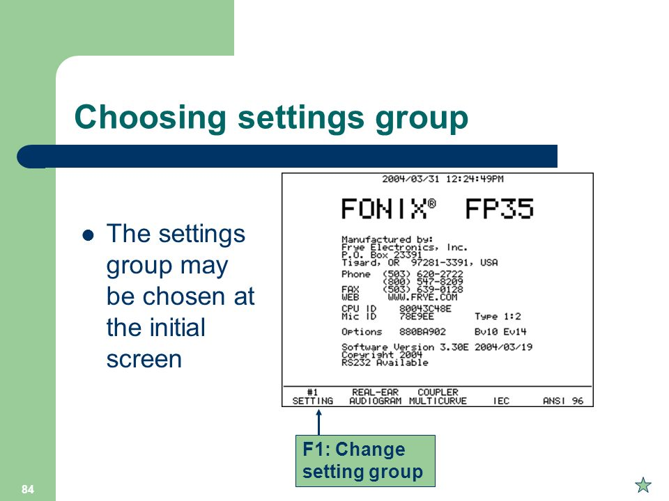 Choosing settings group