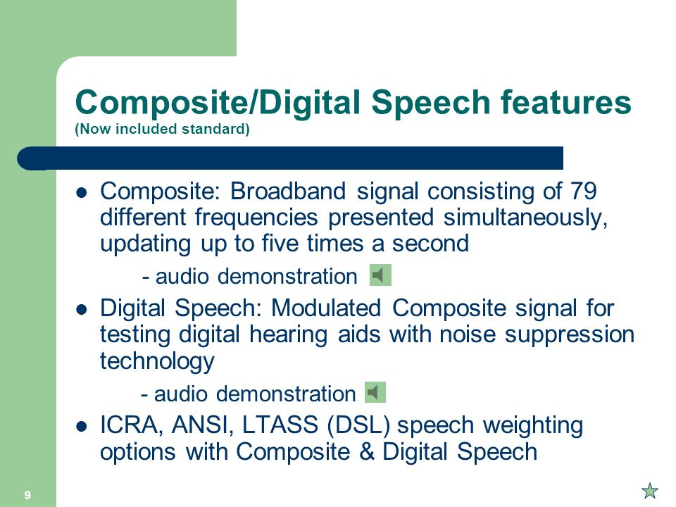 Composite/Digital Speech features (Now included standard)