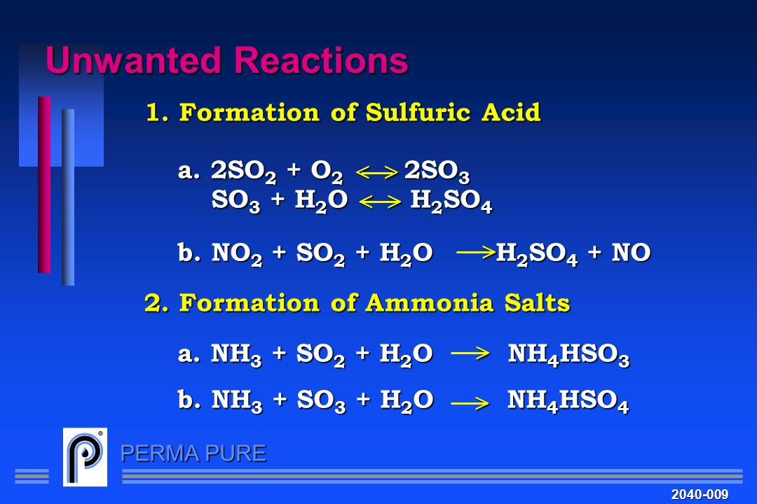 Unwanted Reactions 1. Formation of Sulfuric Acid