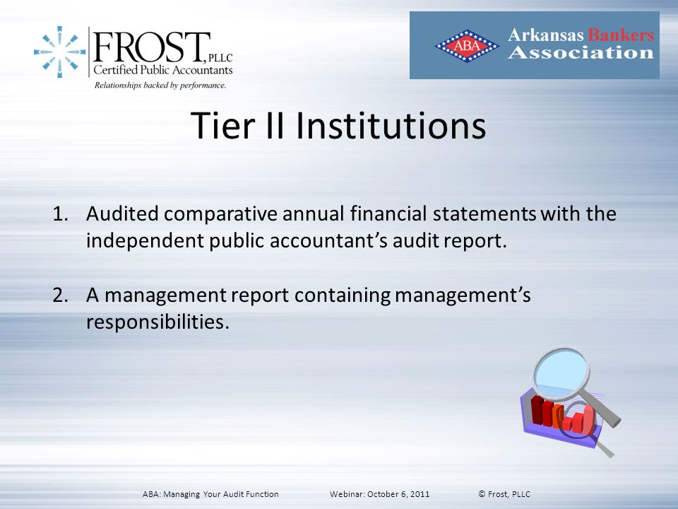 Tier II Institutions Audited comparative annual financial statements with the independent public accountant's audit report.
