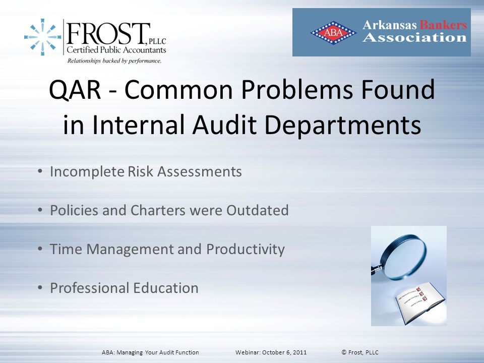QAR - Common Problems Found in Internal Audit Departments