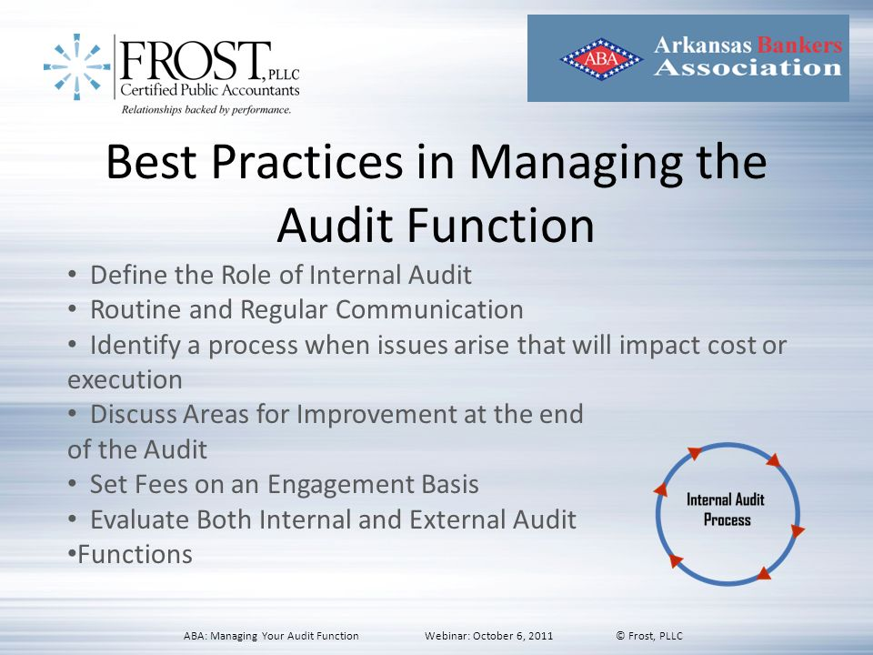 Best Practices in Managing the Audit Function
