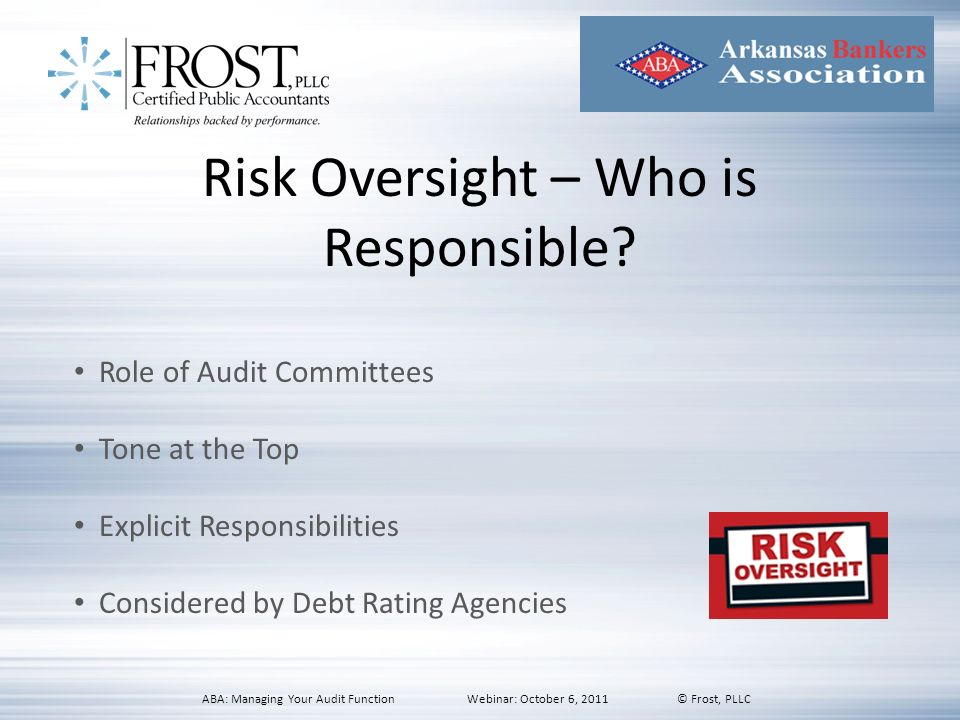 Risk Oversight – Who is Responsible