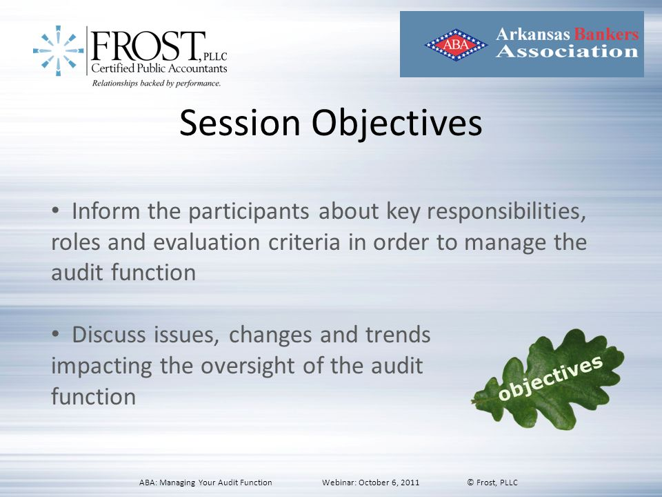 Session Objectives Inform the participants about key responsibilities, roles and evaluation criteria in order to manage the audit function.
