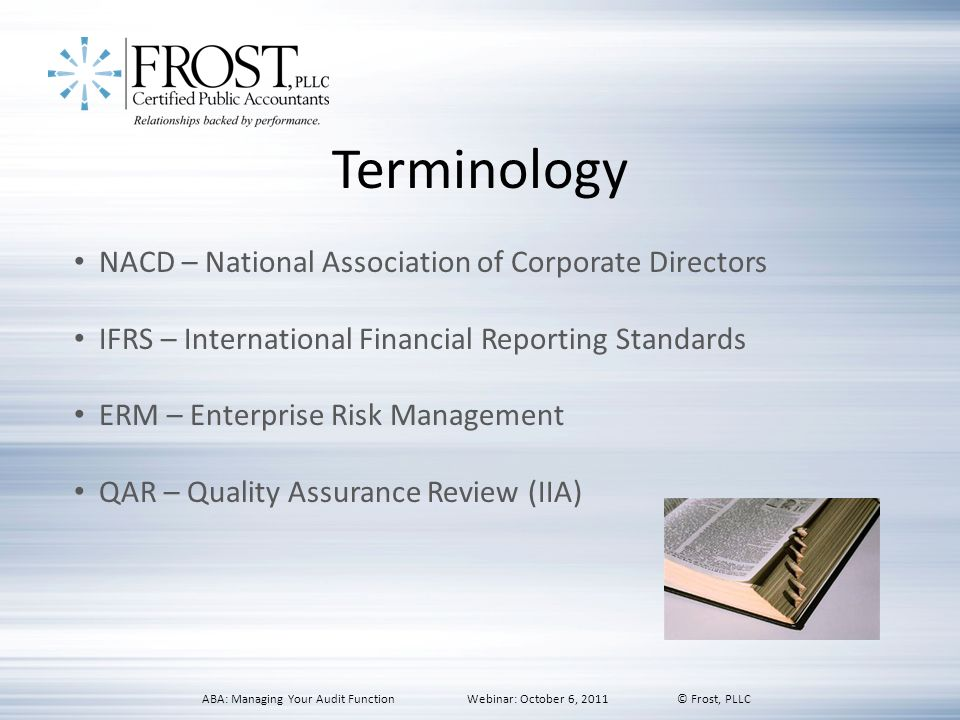 Terminology NACD – National Association of Corporate Directors