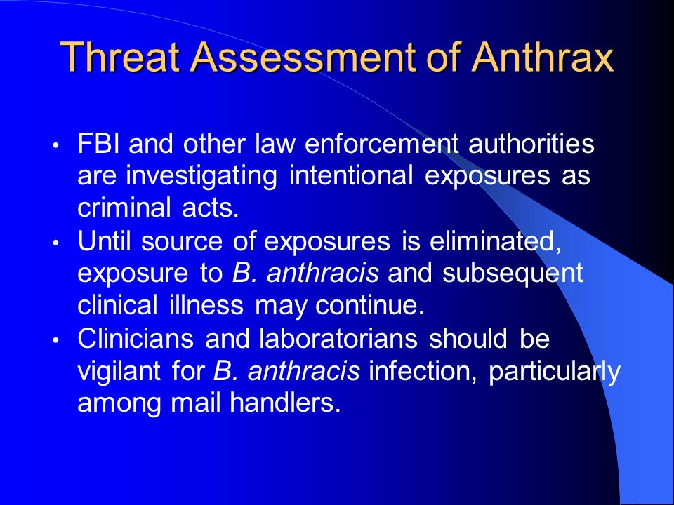 Threat Assessment of Anthrax