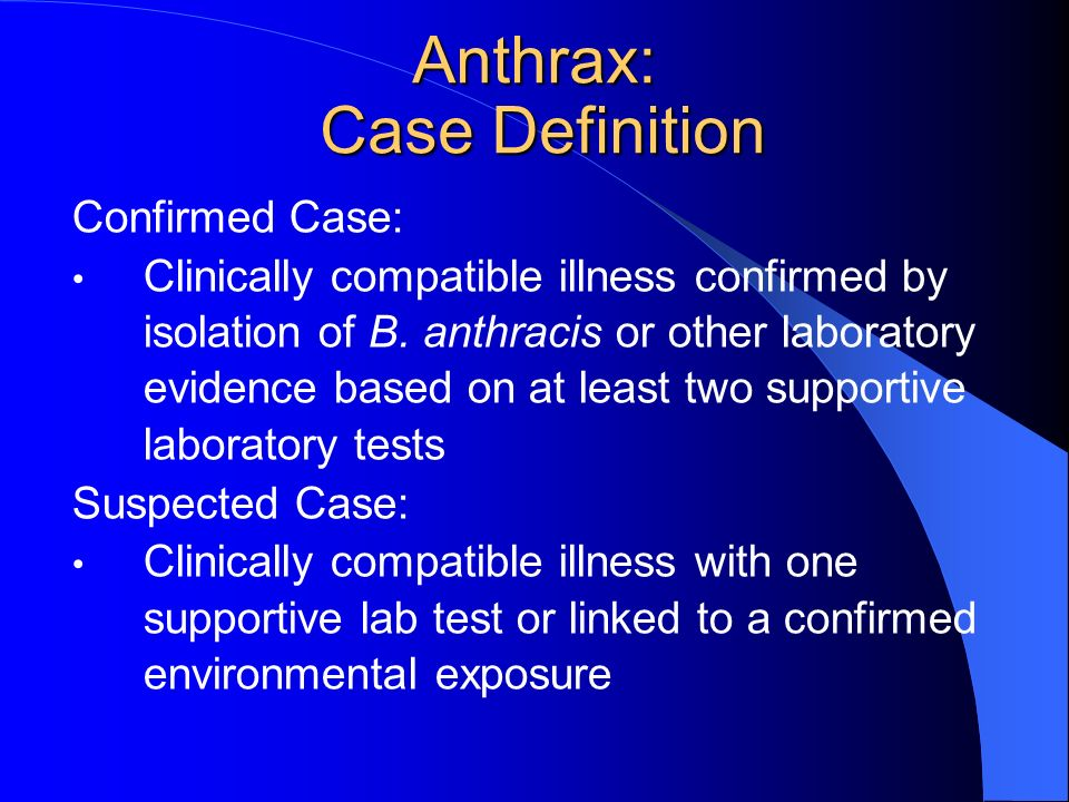 Anthrax: Case Definition