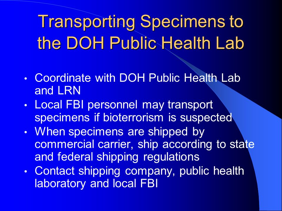 Transporting Specimens to the DOH Public Health Lab
