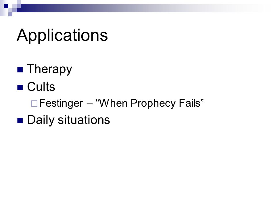 Applications Therapy Cults Daily situations