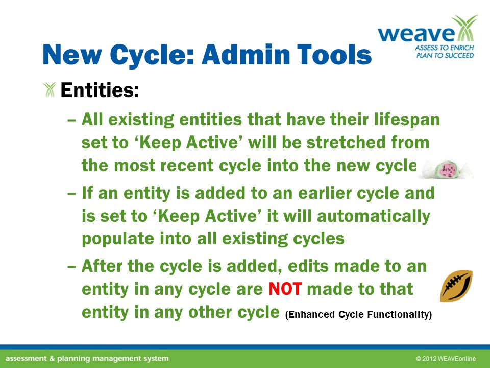 New Cycle: Admin Tools Entities: