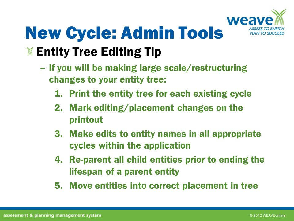 New Cycle: Admin Tools Entity Tree Editing Tip