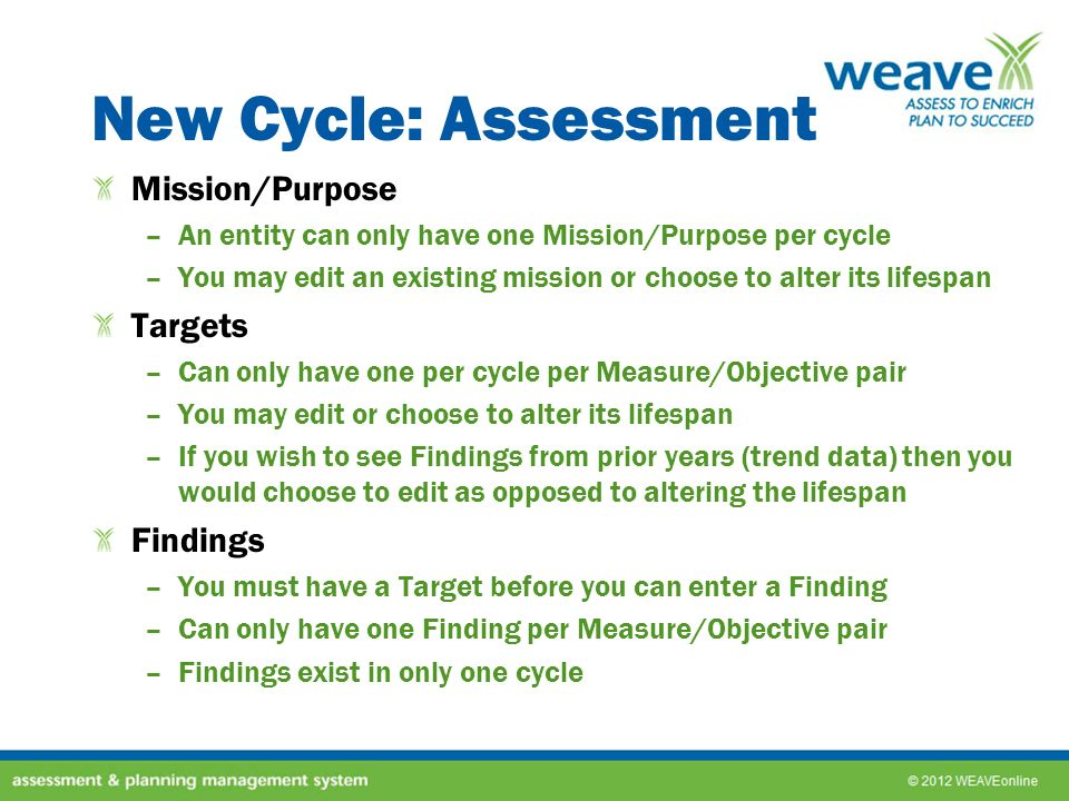 New Cycle: Assessment Mission/Purpose Targets Findings