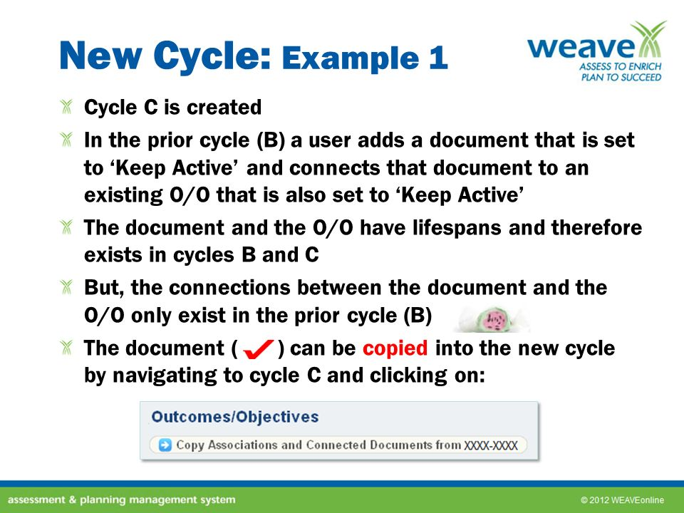 New Cycle: Example 1 Cycle C is created