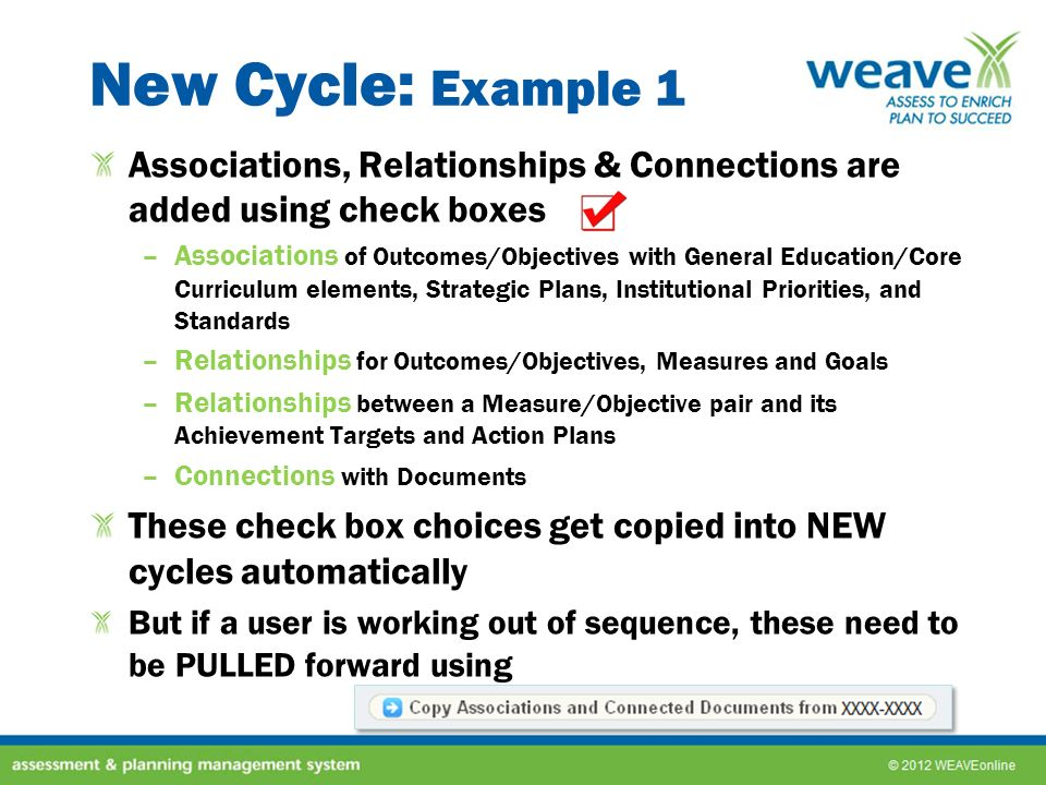 New Cycle: Example 1 Associations, Relationships & Connections are added using check boxes.