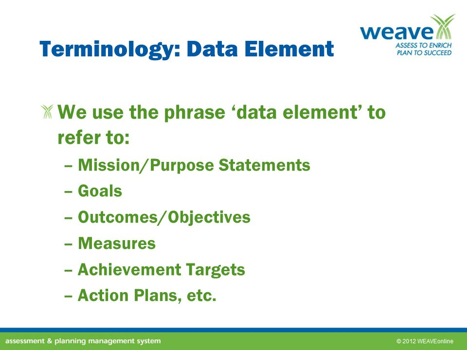 Terminology: Data Element
