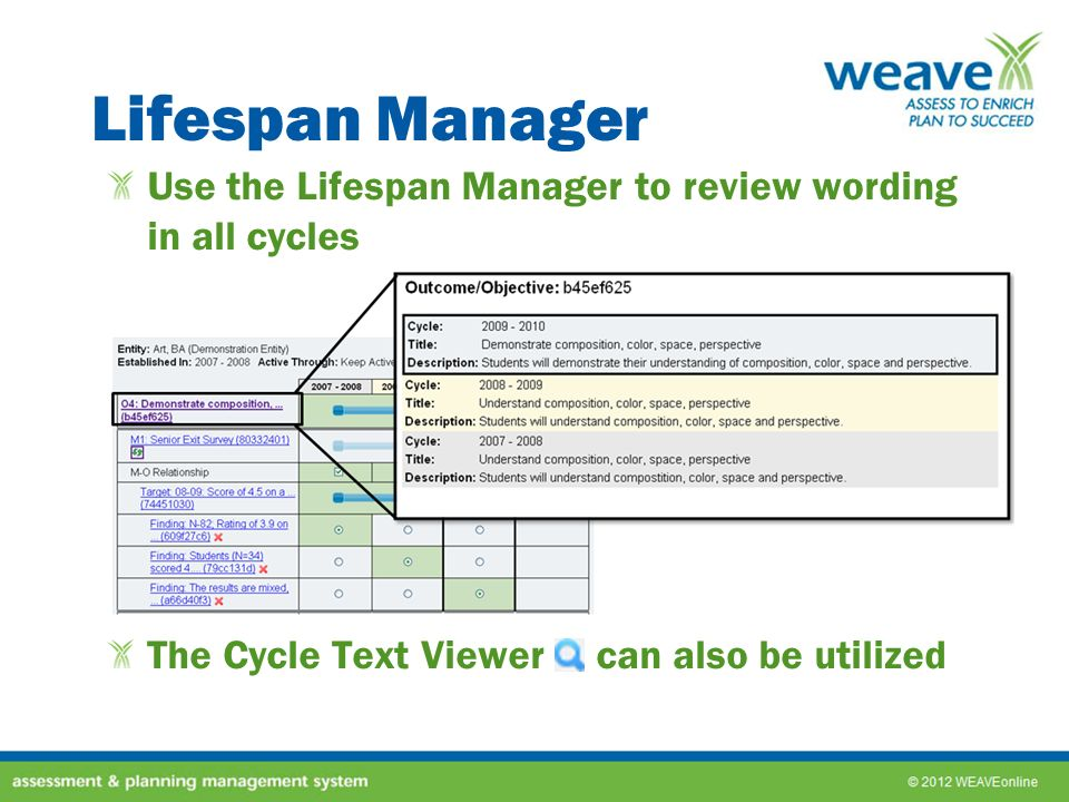 Lifespan Manager Use the Lifespan Manager to review wording in all cycles.
