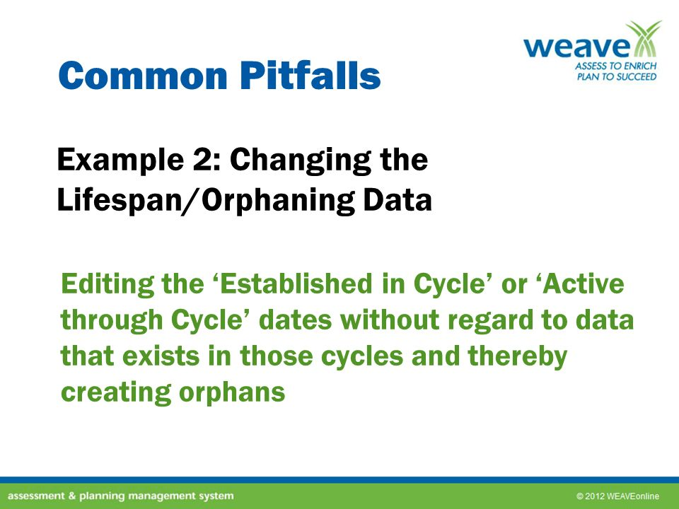 Common Pitfalls Example 2: Changing the Lifespan/Orphaning Data