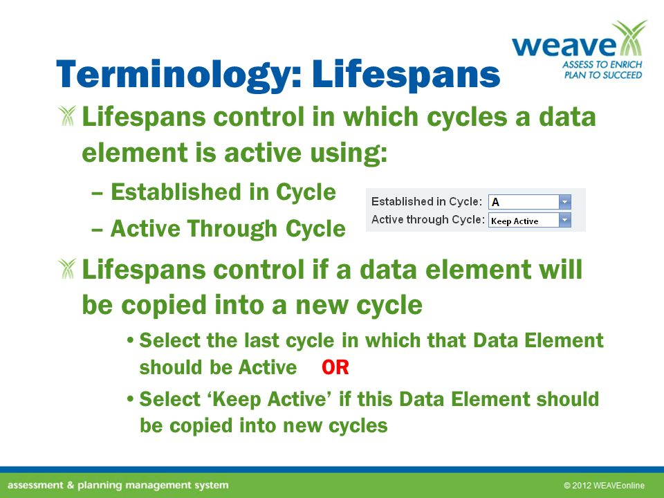 Terminology: Lifespans