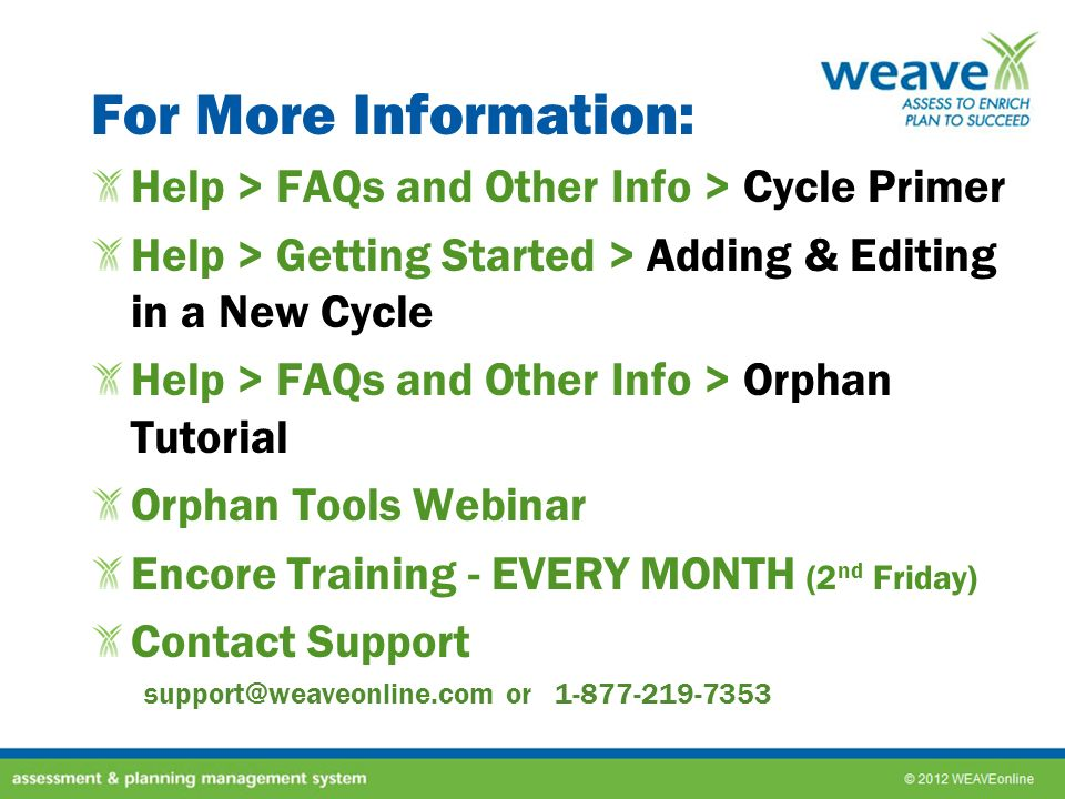 For More Information: Help > FAQs and Other Info > Cycle Primer