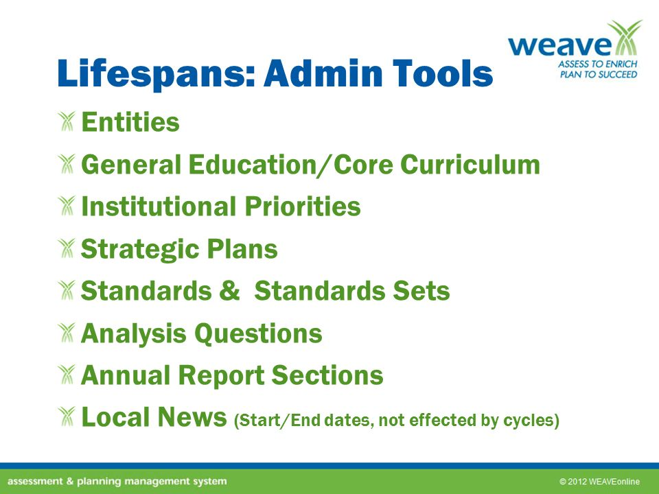 Lifespans: Admin Tools