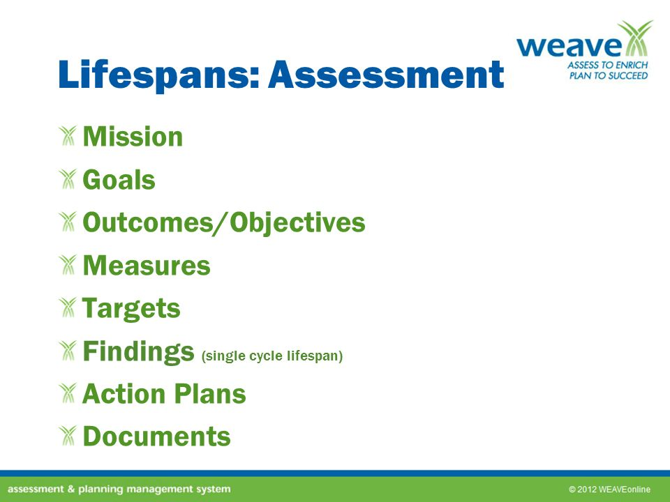 Lifespans: Assessment